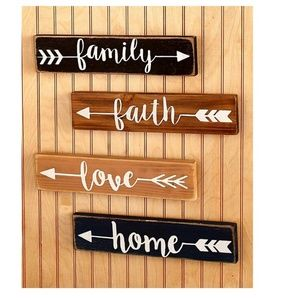Family Farmhouse Wooden Wall Plaques Set of 4